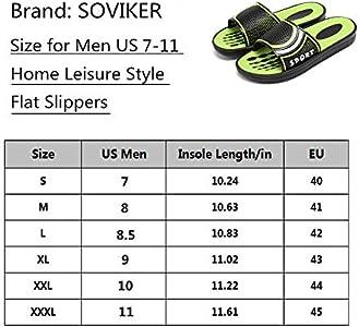 SOVIKER Men Outdoor Slide Slippers Slip on Shower Sandals