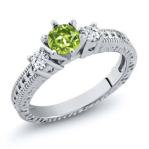 0.88 Ct Round Green Peridot White Topaz 925 Sterling Silver 3-Stone (Round Peridot 3 Stone Ring)