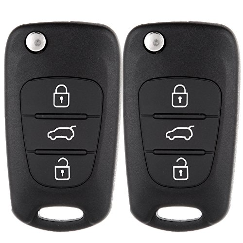 ECCPP Replacement fit for 2X 3 Button Uncut Keyless Entry Remote Control Car Key Fob Shell Case Kia Rio/Rondo/ Soul/Sportage