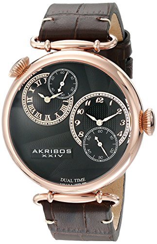 Akribos XXIV Men's AK796RG Dual Time Quartz Movement Watch with Black Dial and Dark Brown with Cream Stitching Leather Strap