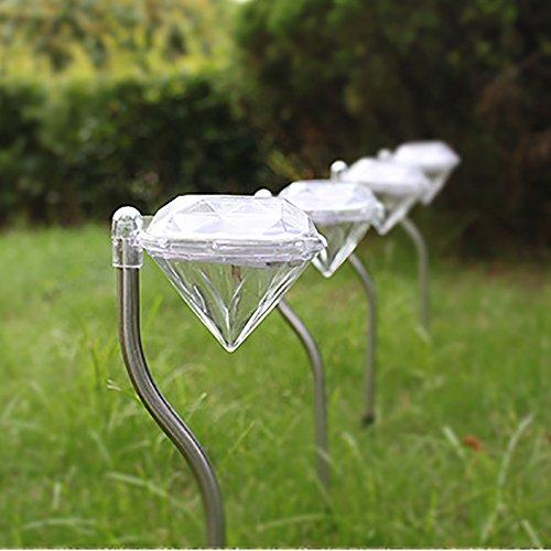 Espero Straight Rod Bright Outdoor Landscape LED Lighting Mini Lawn Light Bent Diamond Lamps for Garden Path Courtyard Spot Light D2.95''H13.4'' White by Espero