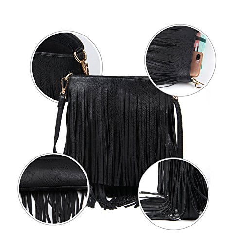 Leisure Body Shoulder Cross Fringe Bag Bag Tassel Black Women pqXFntg