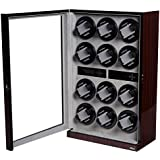 Watch Winder Ebony Wood W/LCD Display For Automatic Watches.