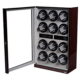 Watch Winder Ebony Wood W/LCD Display For 12 Watches