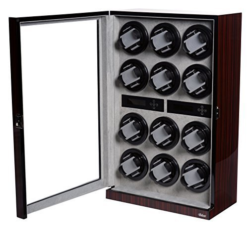 Watch Winder Ebony Wood W/LCD Display For 12 Watches by Belocia