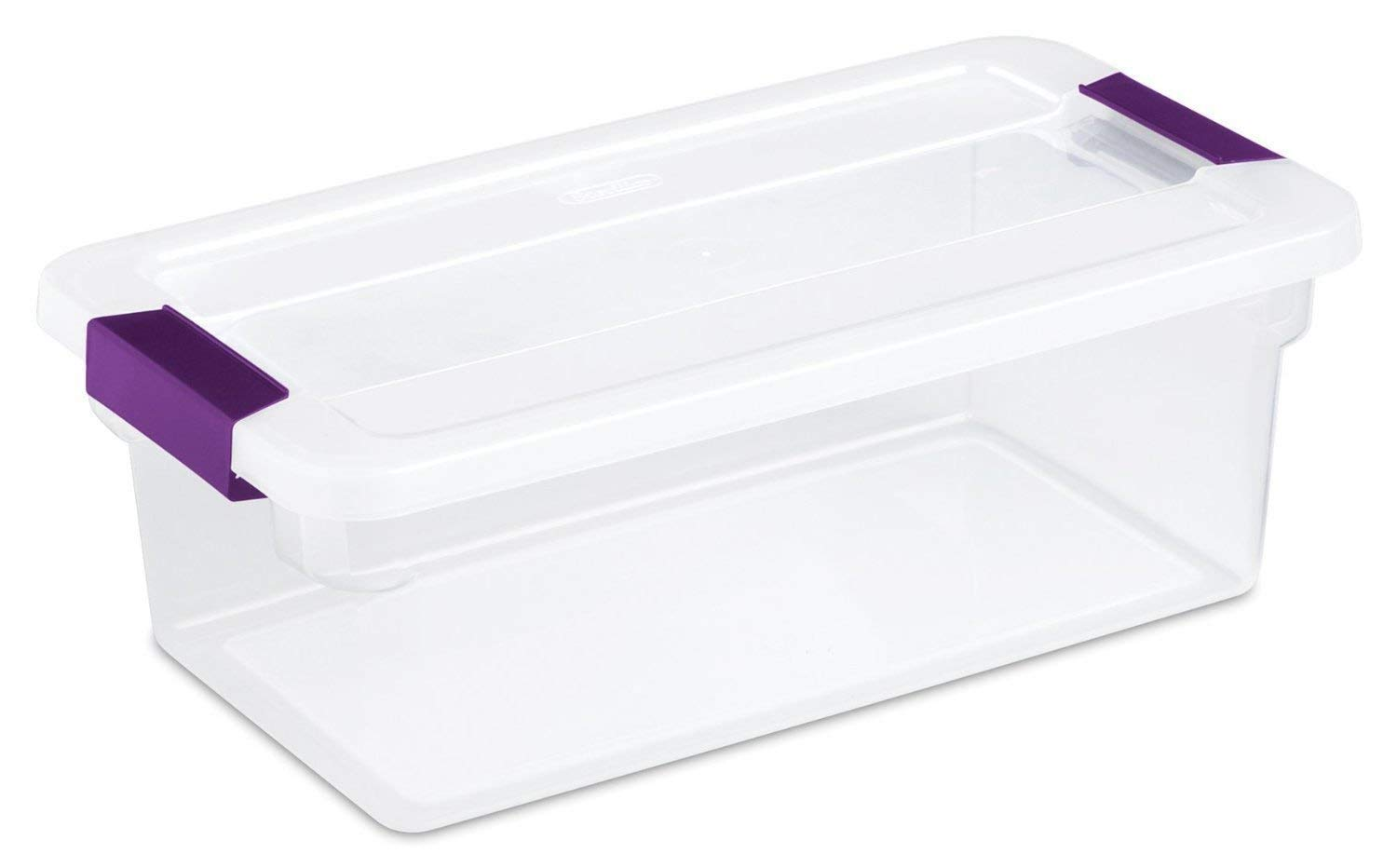 STERILITE 17511712 6-Quart Clearview Latch Box Storage Tote Container … (1, Pack of 4 Containers)
