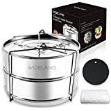 WIDELAND Stackable Stainless Steel Pressure Cooker Steamer Insert Pans with Sling for 5/6/8 Quart Instant Pot Accessories-Silicone Insulation Mat and Cleaning Cloth Included