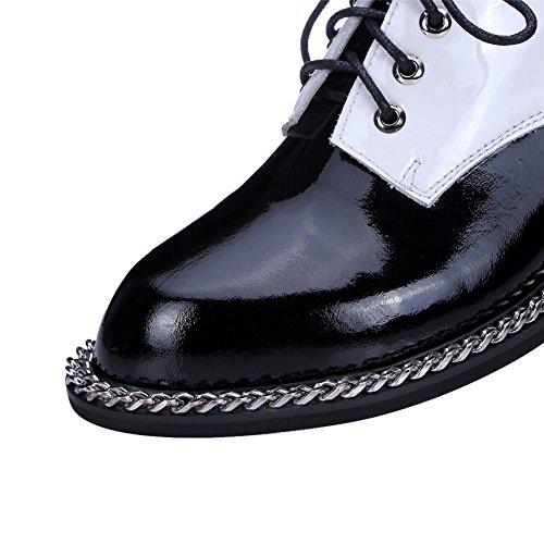 Scarpe Da Donna Tacco Piatto Nove Sette In Pelle Verniciata Allacciate Due Tacchi Oxford Bicolore Nero
