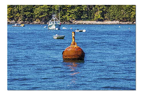 Rusty Mooring Buoy in Harbor Photography A-91585 (20x30 Premium 1000 Piece Jigsaw Puzzle, Made in USA!)