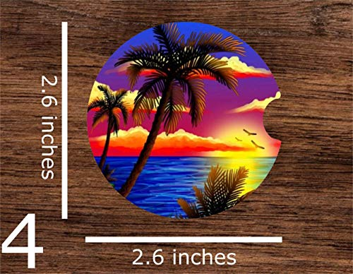 (Tropical Sunset Palm Trees Peaceful Vacation Beach Print Sublimation Car Coaster Set (Includes 2 Car Coasters) Absorbent Matte Finish)
