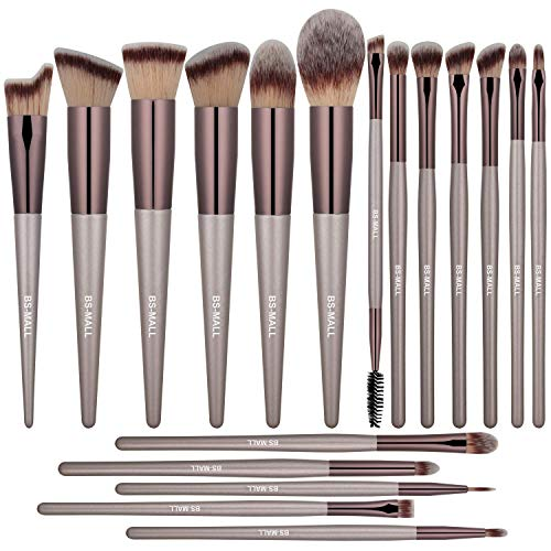 BS-MALL Makeup Brush Set 18 Pcs Premium Synthetic Foundation Powder Concealers Eye shadows Blush Makeup Brushes Champagne Gold Cosmetic Brushes (Best Brush Set For Eye Makeup)