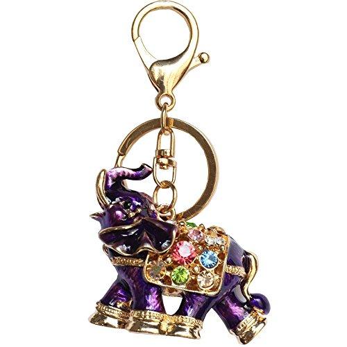 Bolbove 3D Luxury Elephant Keychain Sparkling Keyring Crystal Rhinestones Purse Pendant Handbag Charm (Purple)