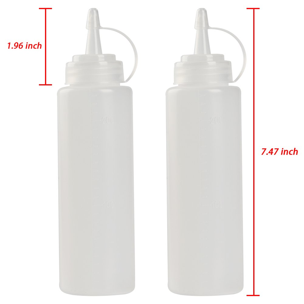 Transparent Plastic for Ketchup Salad dressing Mustard Olive Oil set of CHILDHOOD 8 oz Squeeze Squirt Condiment Bottles with Cap 2