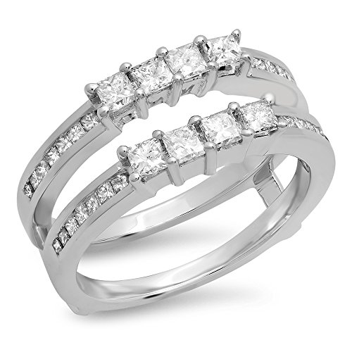 KAASHVEE JEWELS 0.90 Carat (Ctw) .925 Sterling Silver Princess Cut White Diamond Ladies Anniversary Wedding Band Enhancer Guard Double ()