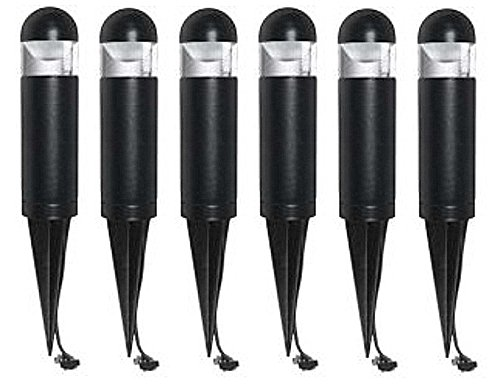 Pack of 6 Malibu 8401-9303-06 LED Mini Bollard Landscape Lights, 2 watt, Low Voltage for Yards, Pathways, Gardens w/ Black Finish BY MALIBU DISTRIBUTION