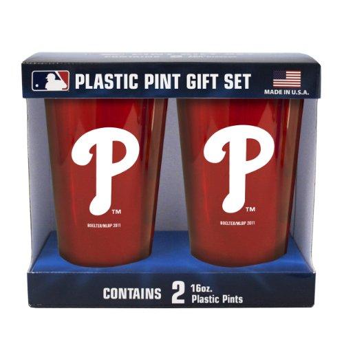 MLB Philadelphia Phillies Boelter Brand Plastic 16 -Ounce Pint Cups (Pack of 2)