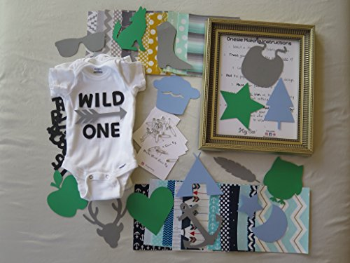 Fabric Fun Baby Kits (TRENDY Theme-Baby Shower DIY Onesie Making Kit- BOY THEME FABRICS- (25 Fabric Appliqués & 8x10 Black Applique for Lettering))