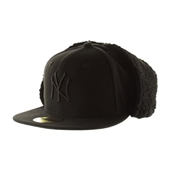 bcceede751e New York Yankees MLB Black on Black 59FIFTY  5950  Dog Ear Fitted Cap Size