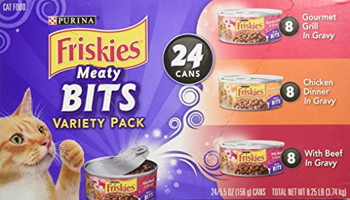 Friskies Wet Cat Food, Meaty Bits, 3-Flavor Variety Pack, 5.