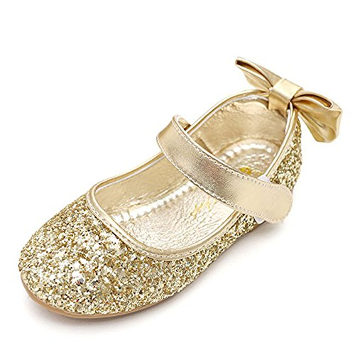 Sequin Ballet Flat - YING LAN Girl Round-Toe Sparkle Bowknot Ballet Ballerina Flat Shoes Gold