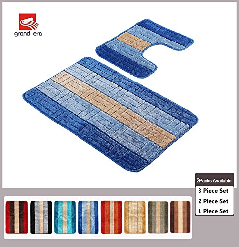 Grand Era 2 Piece Bath Rug Set Nom-slip Bath Mat 22 x 39 Inches with U shaped Contour Rug 20 x 20 Inches for Bathroom, Light Blue