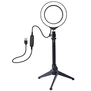 Ring Light 3.5 Inch with Desktop Stand USB 3 Modes LED Ring Video Photography
