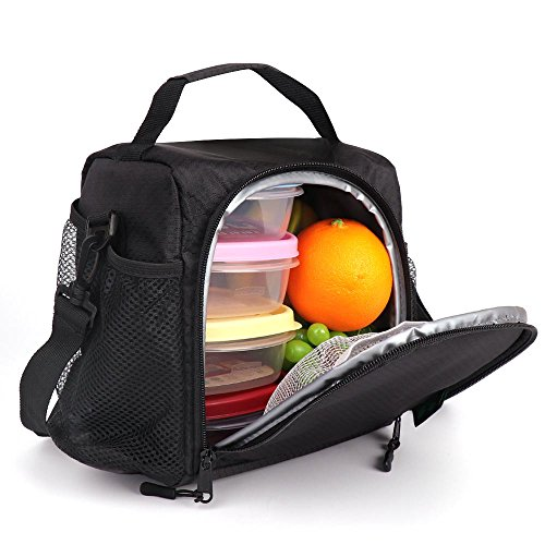 SMALL Lunch Box 6 Cans Lunch Bag ONE MEAL with Bottle Holder Shoulder Strap,Lunch Tote for Work Gym Picnic Fishing (Black N11) by F40C4TMP ()