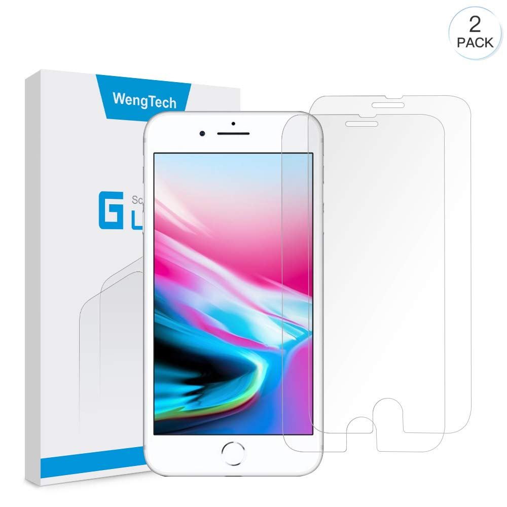 iPhone 8 Plus 7 Plus Screen Protector, WengTech 3D Curved 9H Hardness Bubble Free Anti-Scratch Touch Sensitive Tempered Glass Screen Protector Film for iPhone 8 Plus iPhone 7 Plus 5.5 inch (Clear, 2 Pack)