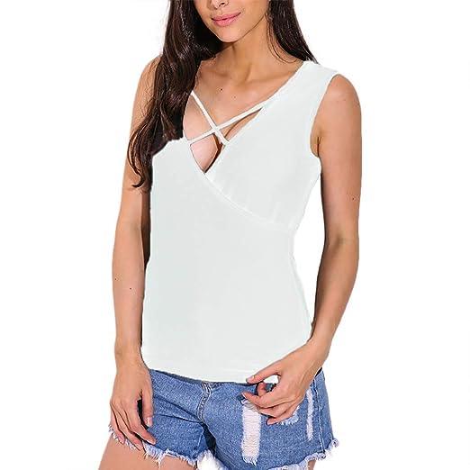 87d688003588 Womens Tops Summer Sexy ILUCI Women's Plus Size T-Shirt V-Neck Front Cross