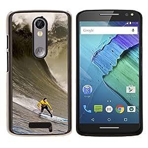 Enorme Ola Surfe- Metal de aluminio y de plástico duro Caja del teléfono - Negro - Motorola Droid Turbo 2 / Moto X Force