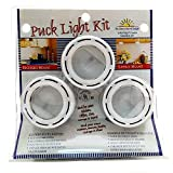 Under Cabinet Kitchen Light kit -3 Light Puck Light kit in White Under-Counter Kitchen Light kit. Power Supply Included. Replacement Bulbs Included. 12V Halogen G4 Full Light kit UL Listed