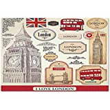Large Wall Mural Sticker [ London,Conventional British Characteristics Big Ben Red Bus Tower and Bridge Banner,Red Ivory Sepia ] Self-adhesive Vinyl Wallpaper / Removable Modern Decorating Wall Art