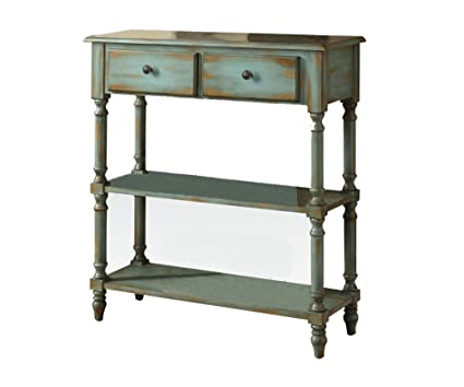 Wonderful ACME Laney Antique Green Console Table