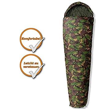 Alta calidad camping Saco de dormir del ejército alemán | Militar Camuflaje Look | camuflaje | aprox. 230 X 80 CM: Amazon.es: Deportes y aire libre