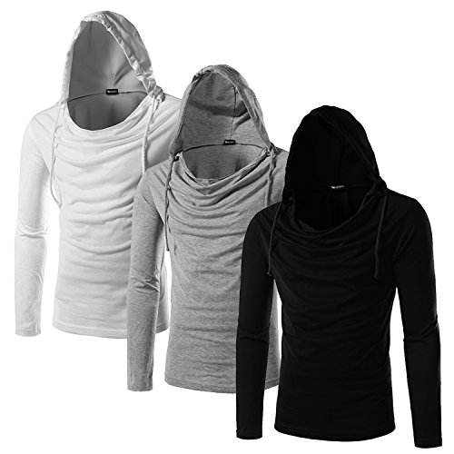 Whatlees Unisex Work Out Long Sleeve Wrinkled Neck Solid Cotton Gym Pullover Hoodie Shirts B093-Three-Black-LightGrey-White-M