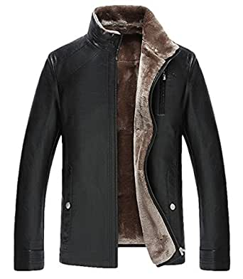 men Leisure Fit leather Fur Thick warm Leather jacket