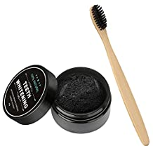 Elisona-Adult Kids Natural Activated Charcoal Teeth Whitening Powder Stain Remover with Bamboo Toothbrush for Clean Teeth Improves Gum Health Freshen Breath 30g Capacity