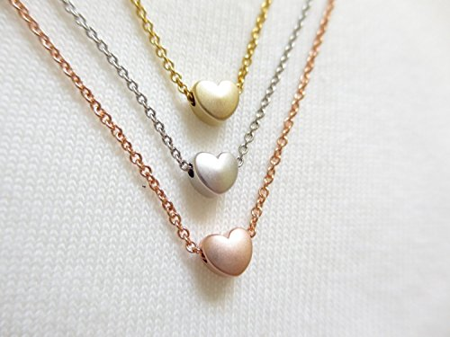 16K Gold Rose Gold Silver Heart necklace - Dainty Personalized Plate Delicate Initial Charms Bridesmaid Gift Friendship necklace Hand (Homemade Pilgrim Costumes)