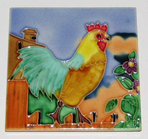 Continental Art Center SD-029 4 by 4-Inch Rooster No.3 Ceramic Art Tile