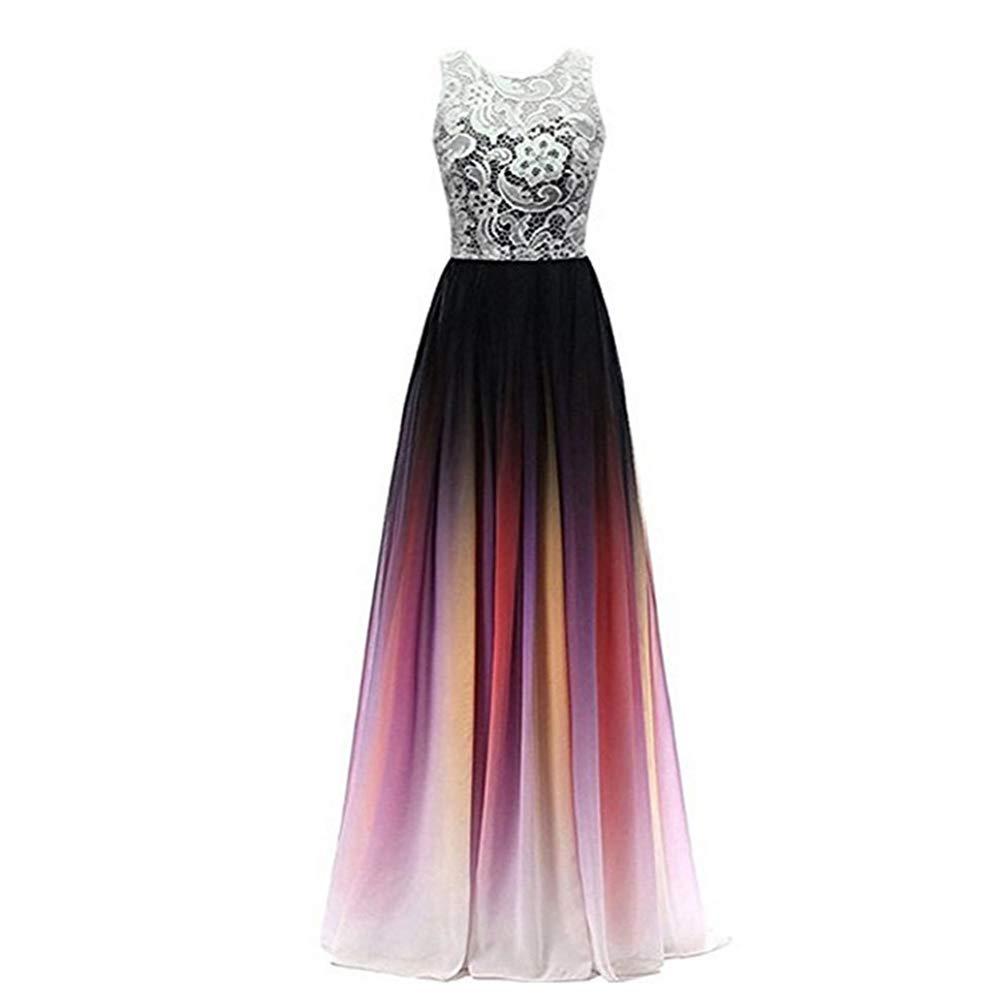 2 Women's Sexy Gradient Lace Evening Dresses Formal Party Dress Longo Dress