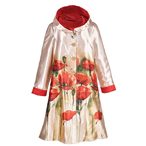 One Button Reversible Coat - LINDI Women's Reversible Poppies Raincoat - Button Front Jacket with Hood - Small