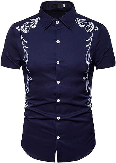SoonerQuicker Camisa de Hombre Hipster Casual Slim Fit Manga Corta Camisetas con Botones Tops con bordadoT Shirt tee: Amazon.es: Ropa y accesorios