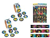 224 PCE.Star Student Space-Themed Reach for The Stars Classroom Prizes/Party Favors - 200 Stickers & 24 Pencils