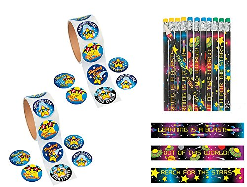 224 PCE.Star Student Space-Themed Reach for The Stars Classroom Prizes/Party Favors - 200 Stickers & 24 Pencils by FX