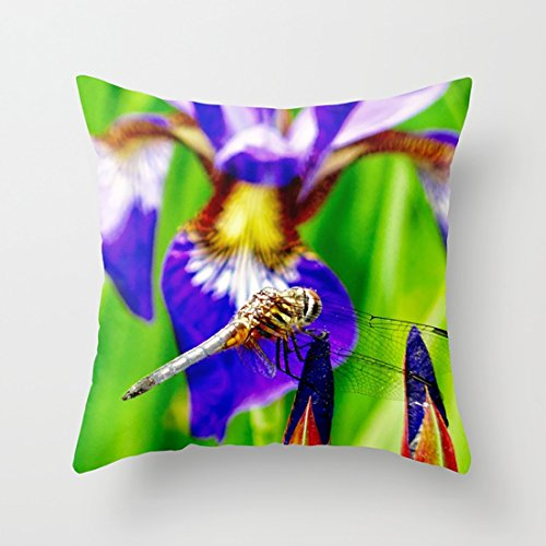 CqxinFuxi Pillow Dragonfly on Purple English iris Throw Pillow case with Soft Comfortable Feeling for Car and Chair ()