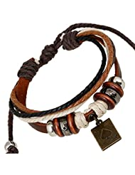 TEMEGO Jewelry Mens Womens Alloy Genuine Leather Surfer Wrap Bracelet, Vintage Beads Playing Card Poker Charm Cuff Bracelet, Adjustable Fits 7-12 Inch, Black Golden Silver