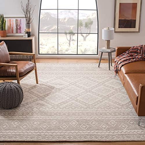 Safavieh MLP501B-8 Micro-Loop Collection MLP501B Handmade Beige and Ivory Premium Wool Area 8' x 10' Rug