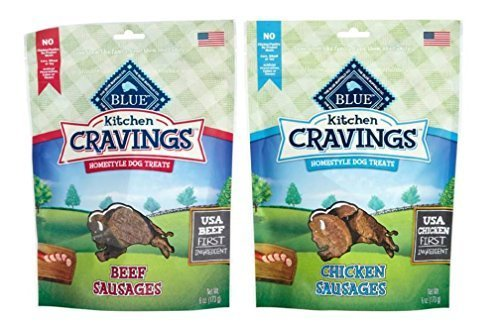 Blue Buffalo Kitchen Cravings Homestyle Treats For Dogs 2 Flavor Variety Bundle: (1) Blue Chicken Sausages Kitchen Cravings Homestyle Dog Treats, and (1) Blue Beef Sausages Kitchen Cravings Homestyle Dog Treats, 6 Oz. Ea. (2 Bags Total)