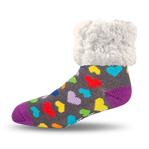 - Pudus heart multicolored adult regular cozy winter classic slipper socks with grippers