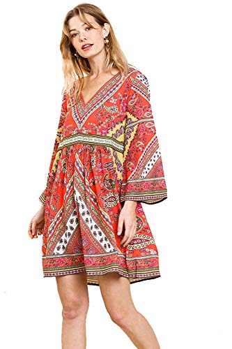 Playful in Paisley! V-Neck Babydoll Pebble Crepe Dress (Coral, Small)